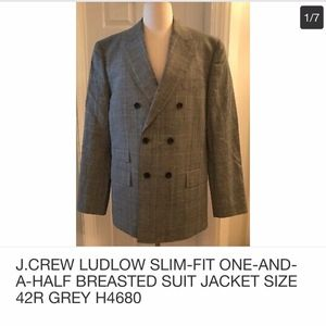 J.CREW LUDLOW SLIM-FIT ONE-AND-A-HALF JACKET 42R